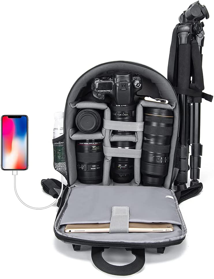 CADeN Camera Backpack Bag for DSLR/SLR Mirrorless Camera Waterproof with 15.6 inch Laptop Compartment, USB Charging Port, Tripod Holder, Rain Cover, Camera Case Compatible for Sony Canon Nikon Black