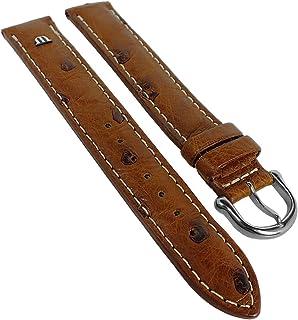 Maurice Lacroix XL para banda reloj de pulsera banda de piel de avestruz marrón 30554, puente ancho: 18mm, cierre: silbern