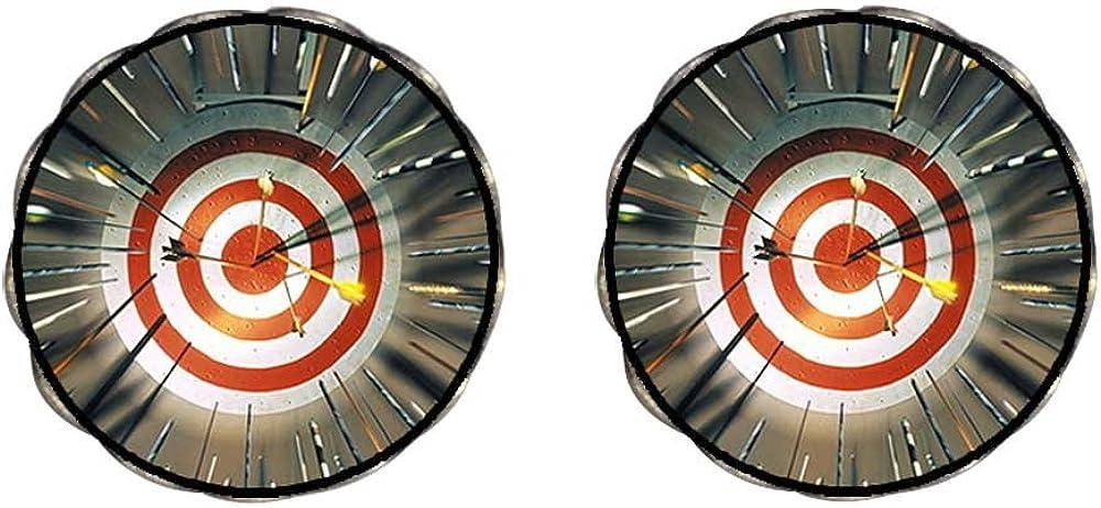 Bronze Retro Style Olympics Archery target multi arrows Clip On Earrings Flower Earrings #12