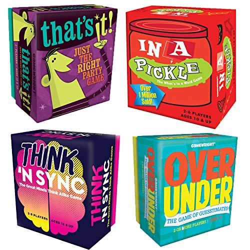 Gamewright Party Game Set of 4: Think 'n Sync, That's It, in a Pickle, Over Under
