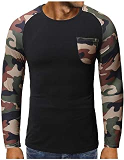 SportsXX Men's Splice Tailored Fit Autumn Relaxed Fashion Multicamo T-Shirt Top