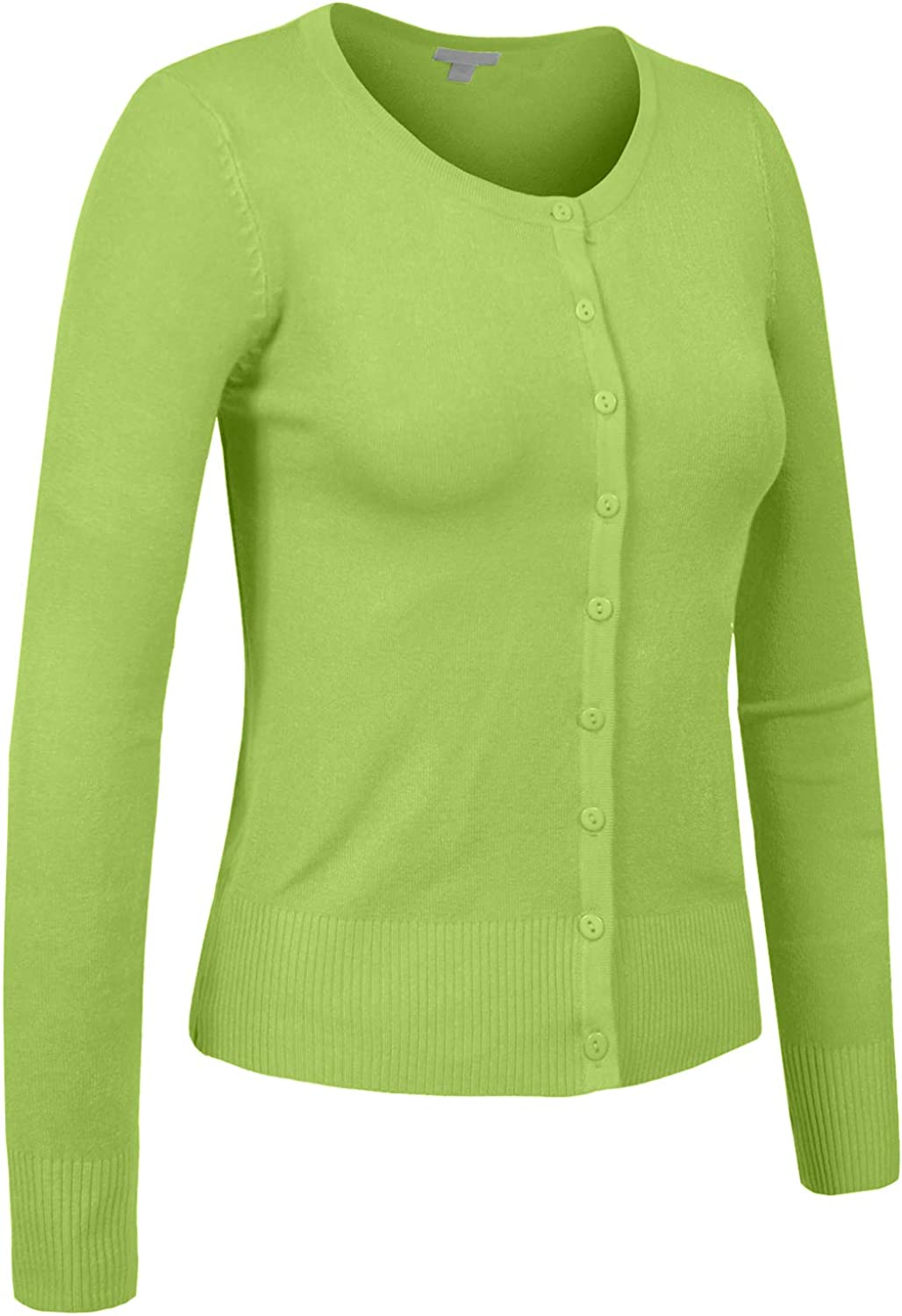 J. LOVNY Womens Basic Casual Light Crew Neck Button Down Cardigan Sweater S-3XL