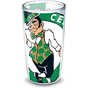 Tervis 1276735 NBA Boston Celtics All Over Tumbler with Wrap and Black Lid 16oz Clear