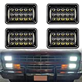 73 chevy truck headlights - DOT Approved 60w 4x6 inch LED Headlights Rectangular Replacement H4651 H4652 H4656 H4666 H6545 with DRL for Peterbil Kenworth Freightinger Ford Probe Chevrolet Oldsmobile Cutlass(black,4pcs)