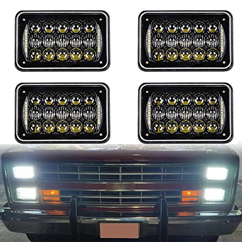 DOT Approved 60w 4x6 inch LED Headlights Rectangular Replacement H4651 H4652 H4656 H4666 H6545 with DRL for Peterbil Kenworth Freightinger Ford Probe Chevrolet Oldsmobile Cutlass(black,4pcs)