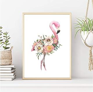 Lámina decorativa de animales . Cuadro para enmarcar diseño exclusivo animales flores para comedor. Papel de 250Gr. (A3)