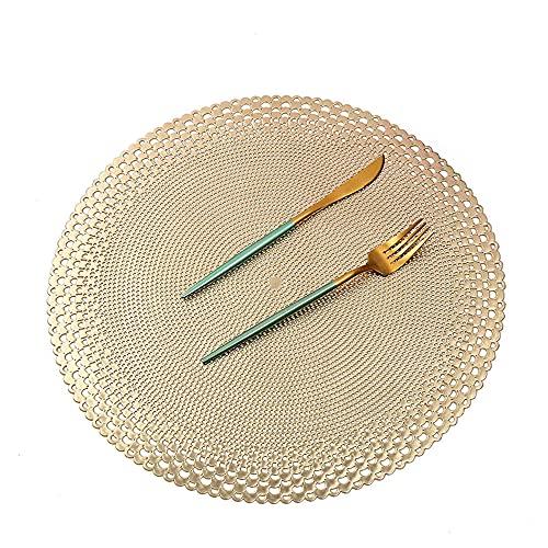 Manteles individuales,6 piezas de taza de café redonda simple y tapete para platillo, color sólido ahuecado aislamiento térmico tapete occidental para la decoración de la cafetería del hotel-dorado