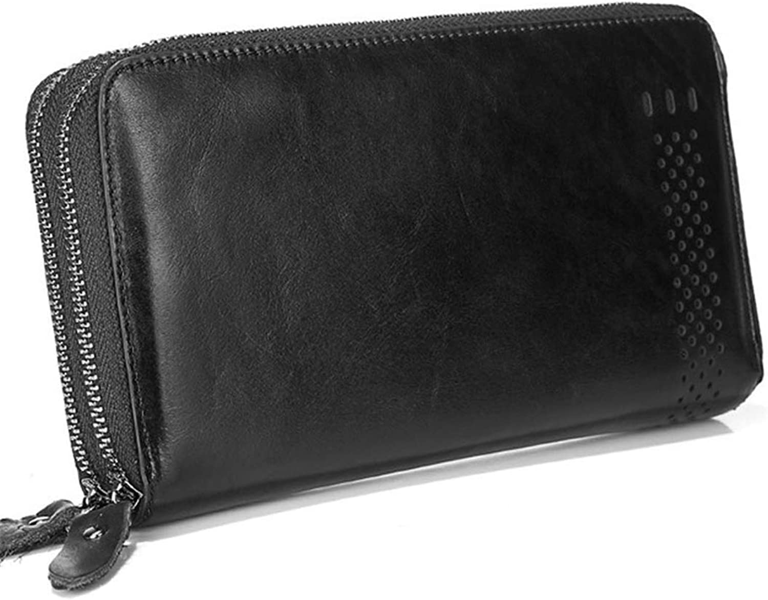Leather Men's Wallet Long Wallet Retro Wallet Double Zipper Large Capacity