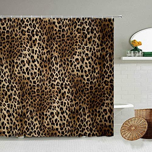 Afrikanischer Stil Leopard Muster Duschvorhang Wild Animal Print Badezimmer Badewanne Dekoration Geschenk wasserdichte Vorhänge Bildschirm-2_180x180cm