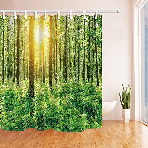 MIWANG Grünen Wald Sonne Duschvorhang, Badezimmer Wasserdicht Mildew-Proof Vorhang Vorhang Hängend, Mit 12 Haken, 100prozent Polyester, W180*H 210 cm