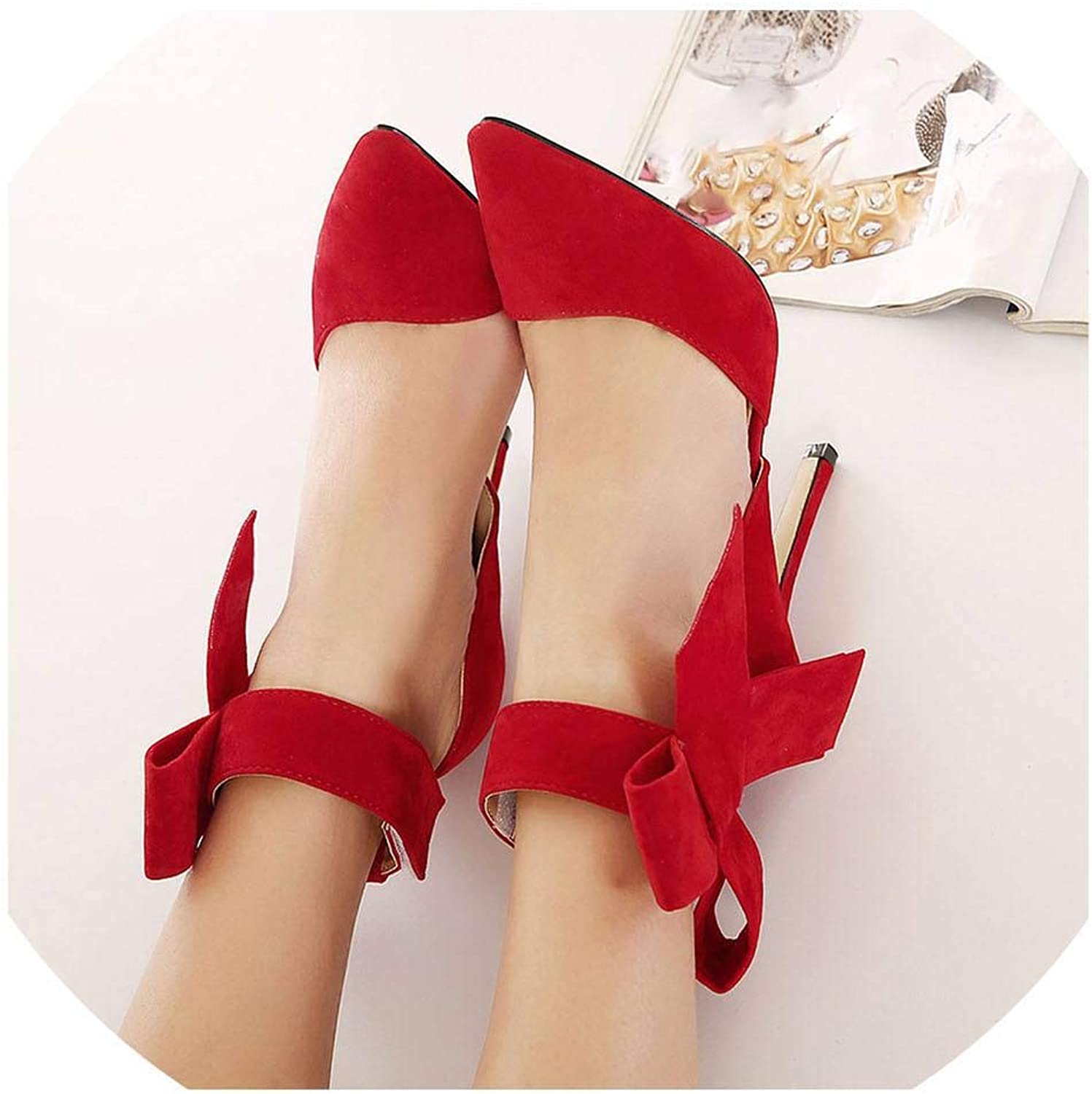 Lin-House Spring Summer Fashion Sexy Big Bow Pointed Toe high Heels Sandals shoes Woman
