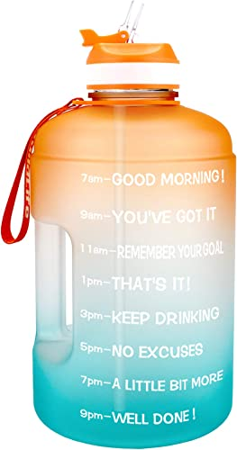 BuildLife Gallon Motivational Water Bottle Wide Mouth with Straw & Time Marked to Drink More Daily,BPA Free Reusable ...
