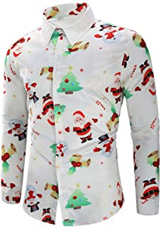 Clearance Forthery Men's Christmas Santa Claus Holiday Button Down Dress Shirts