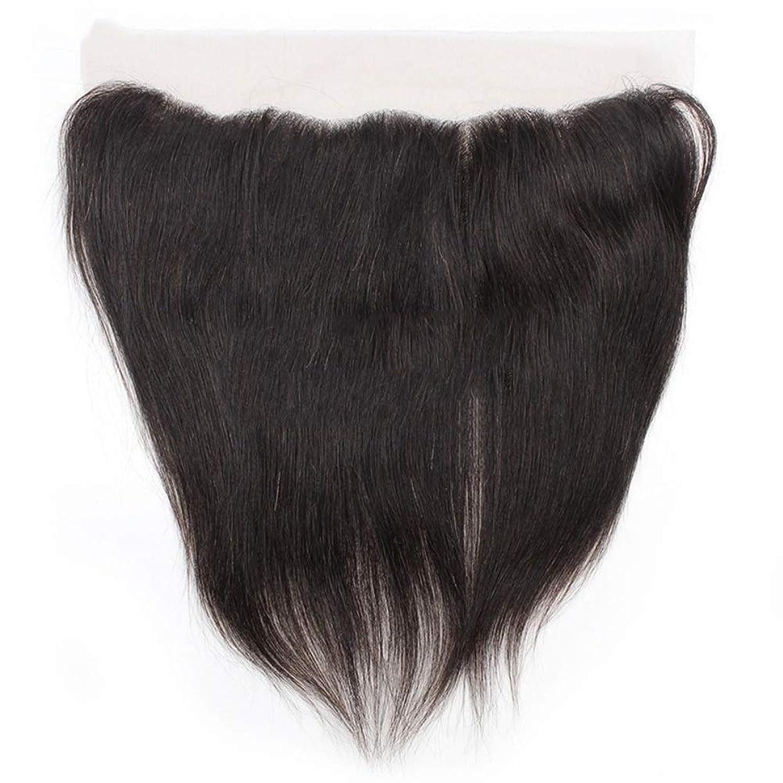 微視的子羊スライムYrattary 絹のような長いレースの閉鎖ストレートヘアレース前頭9Aブラジル髪の耳から耳への13 x 4自由な部分の人間の毛髪の自然な色の人工毛レースのかつらロールプレイングかつら長くて短い女性自然 (色 : 黒, サイズ : 10 inch)