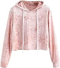 Vicbovo Cropped Hoodie, Women Teen Girls Fashion Velvet Long Sleeve Hooded Crop Tops Sweatshirt Loose Pullover