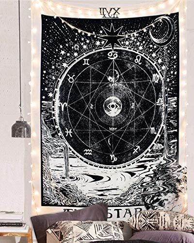 HEWADY Tarot Wall Carpet Wall Colgando Alfombra Cinta Impulsada Tapicería Moon Stars Sun como Tela Decorativa/edredón (150 x 100 cm, Estrellas)