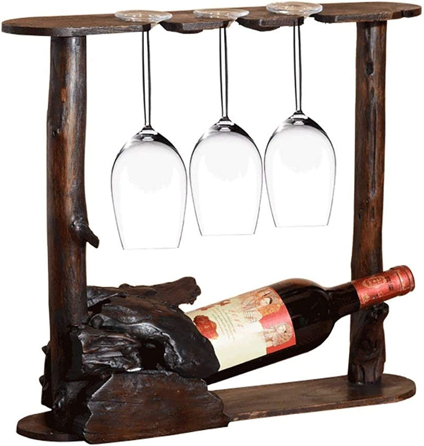 A-Lncie Wine Shelf with Glass Holder  37  42cm - Wooden Bottle Stand with Space for 1 Bottles & 3 Glasses Hanging Wooden Shelf As Bottle Holder