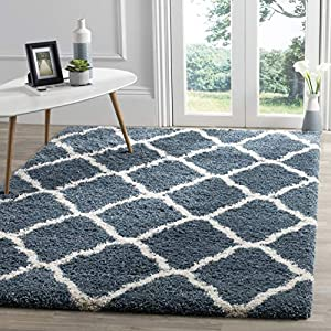 Safavieh Hudson Shag Collection SGH283L Moroccan Trellis 2-inch Thick Area Rug, 8′ x 10′, Slate Blue / Ivory