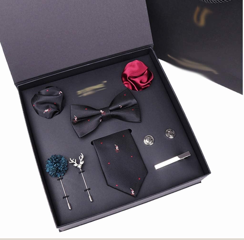 WPYYI Man Tie Hanky Cuff-Link Tie Clip Bowtie Brooch 8pcs Set Necktie Suit for Male Pocket Square Handkerchief Fashion Gift Box (Color : C)