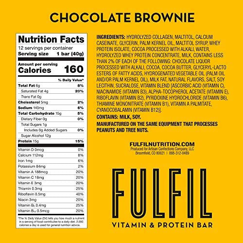 Amazon.com: FULFIL Protein Bars, Chocolate Brownie, Snack Sized Bar with 15g Protein and 8 Vitamins Including Vitamin C, 12 Counts: Health & Personal Care