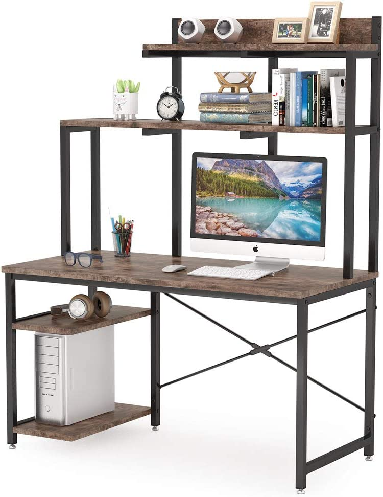 Tribesigns Max 42% OFF Computer Desk with Shelves and Home 47 Be super welcome Hutch Inch Of