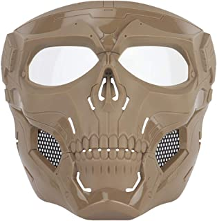 NINAT Airsoft Masks Full Face Skull Tactical Mask with PC Lens Eye Protection for CS Survival Games BBS Gun Shooting Hallo...