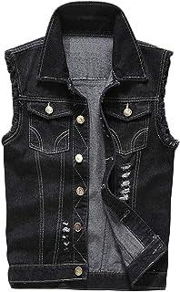 FSSE Mens Jean Button Up Sleeveless Cut Off Distressed Denim Vest Jacket Coat Gilet