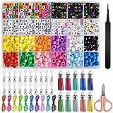 EBANKU DIY Kit de Fabricación de Joyas Collar Colgante Pulsera Conjunto con 960 Cuentas de Alfabeto, Líneas, Tijeras Pequeñas y Otros Accesorrios