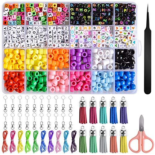 EBANKU 960pcs Pony Alphabet Pop Perlen für die Herstellung von Halskette, Armband, Kunsthandwerk Schmuckherstellung Kit mit 10 Rollen Bunte Elastische Armbandschnur, Schere, Pinzette und Schlüsselring