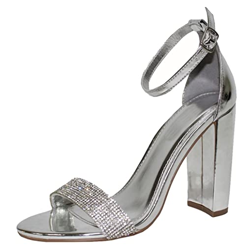 1ee618f6d33 Cambridge Select Women s Open Toe Crystal Rhinestone Ankle Strappy Chunky  Stacked Block Heel Dress Sandal
