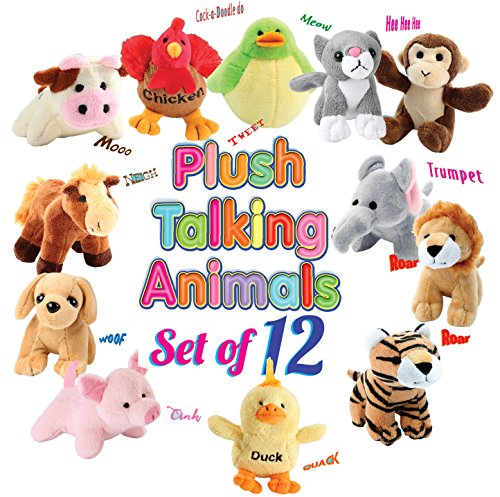 Animal House 12 Plush Talking Animal Sound Toys Baby Gift & Party Favors
