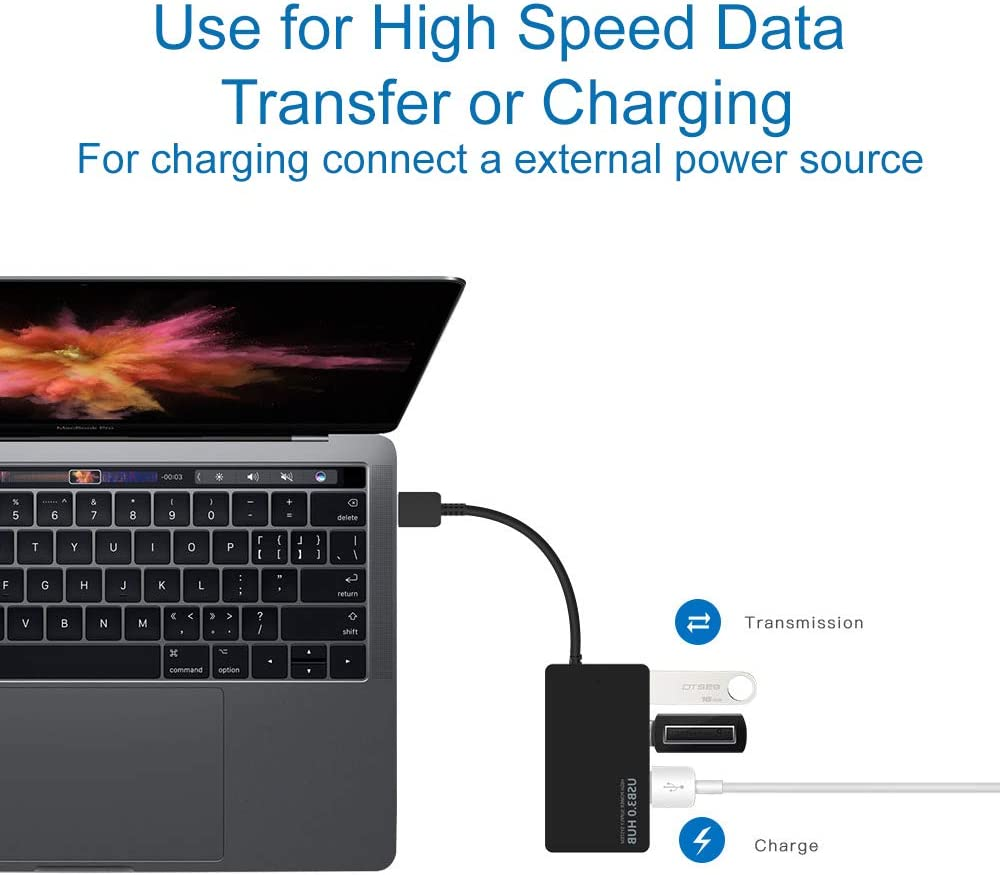 MMOBIEL 4-Port USB 3.0 Data Hub Compatible with MacBook Mac Pro/Mini iMac Surface Pro XPS Notebook PC USB Flash Drives Mobile HDD