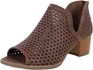 Womens Perforated Booties Ankle V Cutout Block Chunky Low Heel Back Zipper Boots