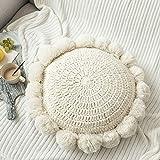 Adory Sweety Cojín de punto redondo para sofá, cojín de peluche hecho a mano, pompones decorativos (beige, diámetro de 45,7 cm)