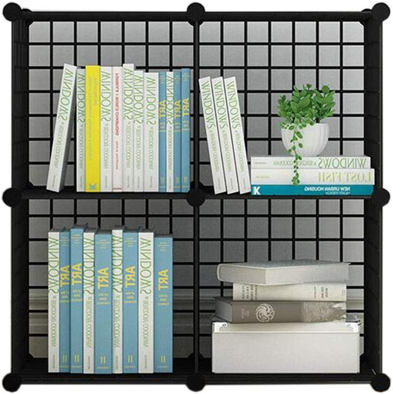 JCAFA Shelves Bookshelf Modern Industrial Bookcase Display Shelf Cubes Storage Organizer Metal Frame Toy Storage Cabinet, Multi-Grid (color   Black, Size   4 Grid 29.92  14.56  29.92in)