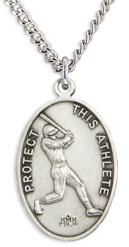 Heartland Men's Sterling Silver Oval Saint Sebastian Baseball Medal + USA Made + Chain Choice