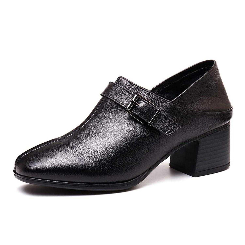 [SENNIAN] パンプス レディース スクエアトゥ 太めヒール 春秋 革靴 シューズ 疲れない おしゃれ 1.5cmインヒール 5cmヒール ブラック ビジネス オフィス 通勤 忘年会 柔らか素材 軽量 スリッポン
