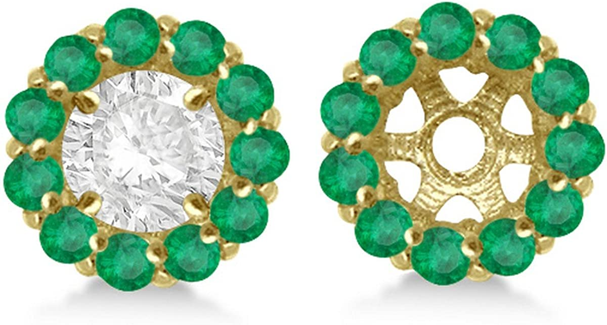 14k Gold 0.96ct Ladies Round Emerald Earring Jackets for 4mm Studs