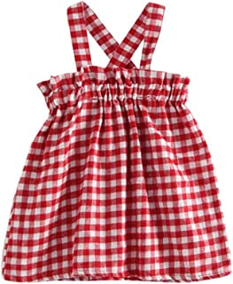Tonsee 子供服 女の子 ワンピース チェック柄 袖なし バックレス プリンセスドレス ミニドレス ビーチ 旅行 記念日 プレゼント 90CM-130CM