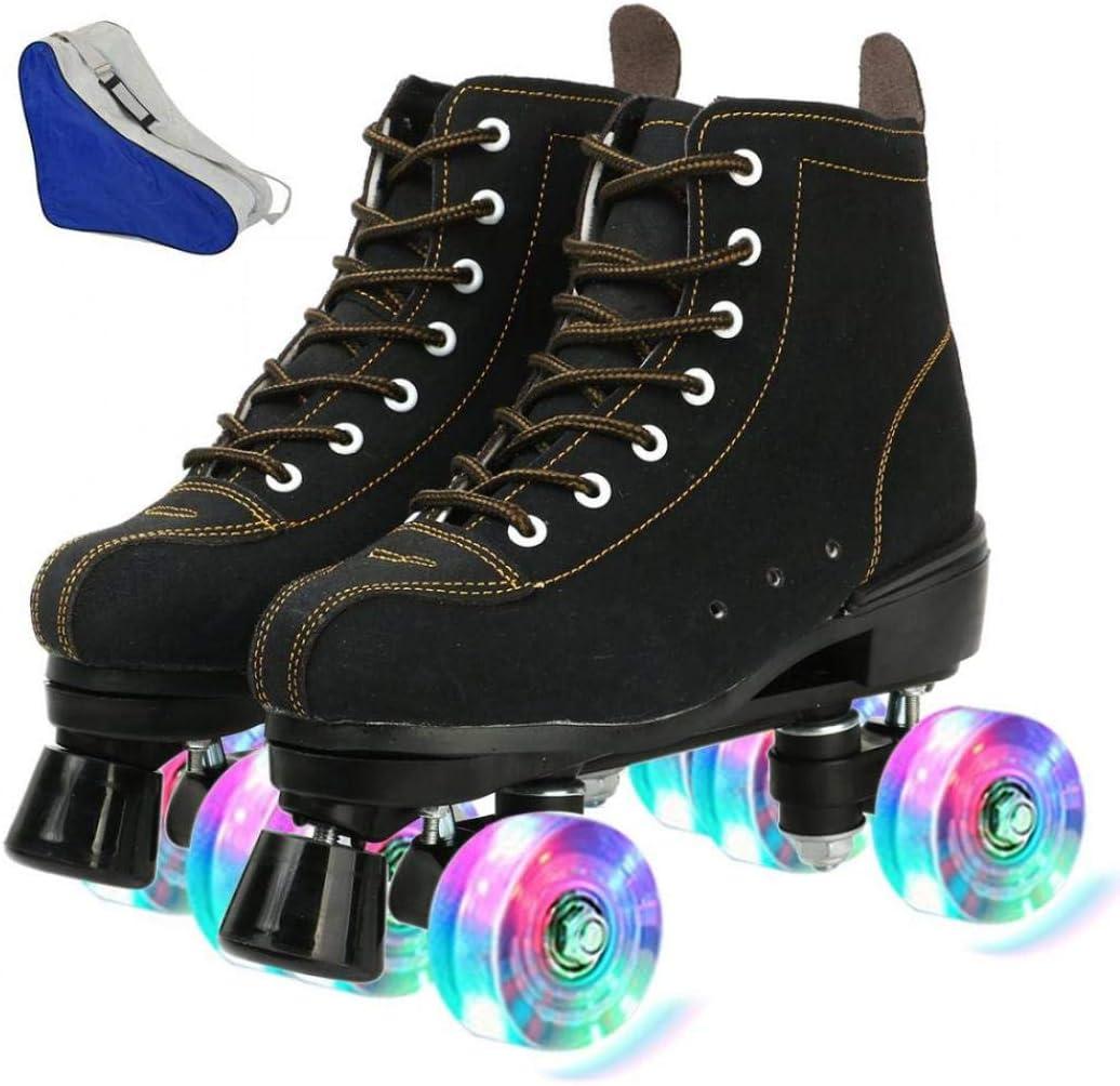 Classic Premium Roller Skates Four Wheels Roller Skates Shiny Roller Skates for Unisex Cowhide Roller Skates High-Top Shoes Double-Row Design