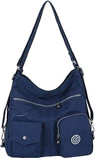 Bolsos de Mujer, Impermeable Nylon Bolso Bandolera Multifuncional Mochilas Bolso Hombro Shopper (Azul oscuro)