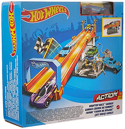 Hot Wheels Rooftop Race Garage Playset, Race to the Finish Line then Pull Into the Garage for a Tune-up with the Rooftop Race Garage!