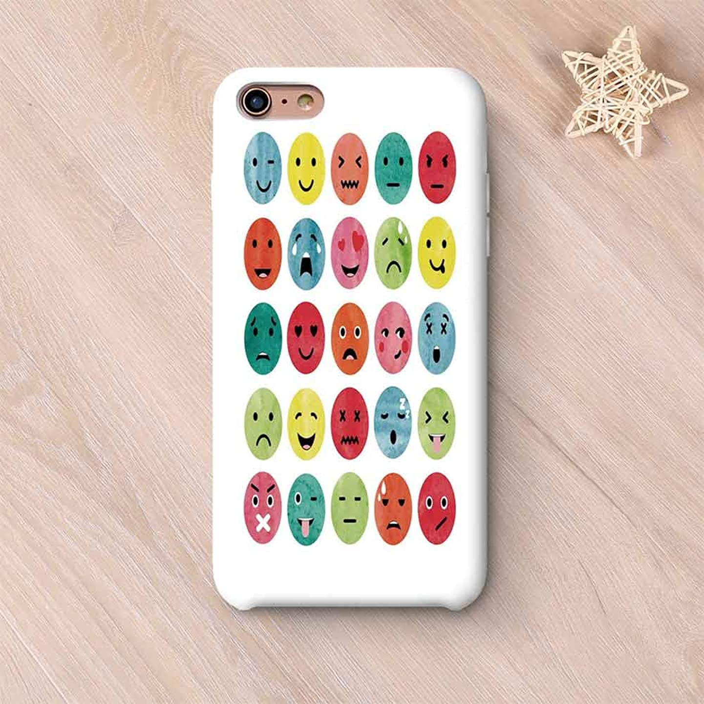 Emoji No Odor Compatible with iPhone Case,Watercolor Abstract Facial Expressions Winking Crying Loving Surprised Collection Decorative Compatible with iPhone 7/8 Plus,iPhone 6 Plus / 6s Plus