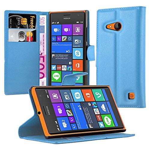 Cadorabo Hülle für Nokia Lumia 730 - Hülle in Pastel BLAU – Handyhülle mit Kartenfach & Standfunktion - Case Cover Schutzhülle Etui Tasche Book Klapp Style