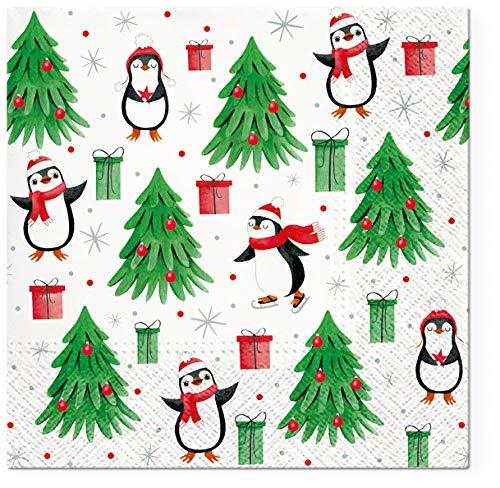 20 Servietten Kleine Pinguine an Tannenbäume | Kinder | Winter | Weihnachten 33x33cm