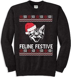 Women's Feline Festive Funny Cat Ugly Christmas Sweatshirt for Ladies