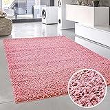 carpet city Shaggy Teppich-Läufer Hochflor Langflor Pastell Einfarbig Uni Modern in Rosa für Wohnzimmer; Größe: 70x140 cm