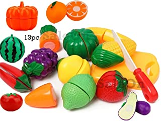 SaleOn Set of 13 Kitchen Food Fruit Vegetable Cutting Kids Pretend Play Educational Toy Safety Children Kitchen Toys Sets ...