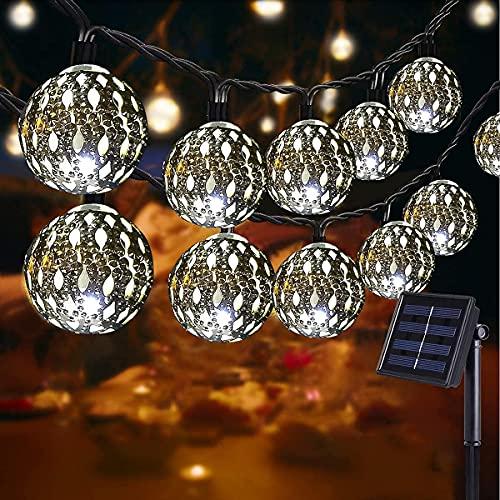 NLNEY LED Solar Marokkanische Lichterketten Außen, 7M 50er LED Lichterketten Aussen, 8 modi Solar Lichterkette Wasserdicht Lichter Beleuchtung für Garten, Terrasse, Hof, Haus (KaltesWeiß)