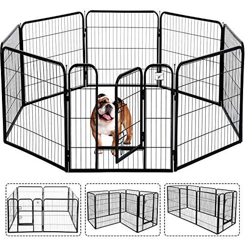HCY Pet Gate, Large Dog Kennel Puppy Playpen Dog Fence 40 Inch Exercise Pen Gate Fence Foldable 8 Panels with Door Options Ideal for Pet Animals Outdoor Indoor (40 Inch)